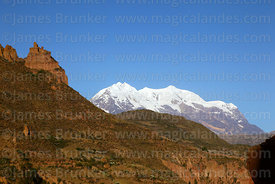 Rock formation above Palca Canyon and Mt Illimani, Cordillera Real, Bolivia