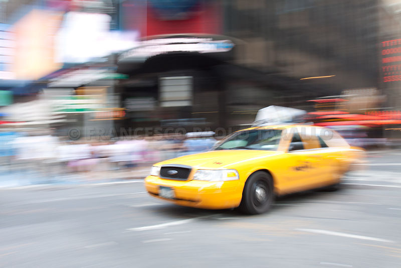 yellow cab, Times Square, 2011