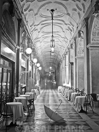 San Marco corridor with umbrella on floor, Venice, Italy