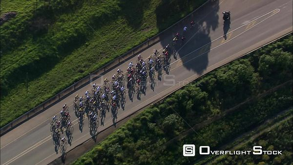 Aerial of cyclists during a cycle race. kwaZulu Natal South Africa