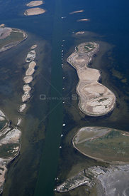 Aerial view of intracoastal waterway with spoil islands and seagrass beds, Gulf of Mexico, Texas, USA, 1999