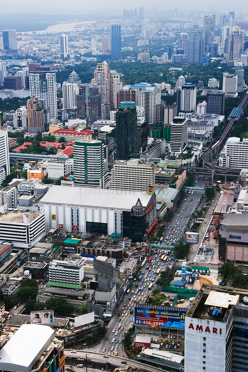 Phaya Thai Rd and Skytrain from Baiyoke Tower II, Bangkok