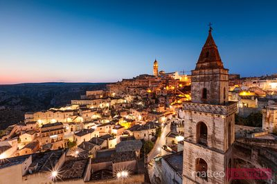 San Pietro Barisano church and Sassi di Matera at dawn, Italy