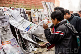 newspapers Durbar Square in Kathmandu