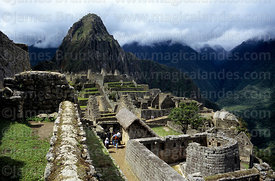 Sun Temple, Huayna Picchu peak and Urubamba Canyon, Machu Picchu, Peru