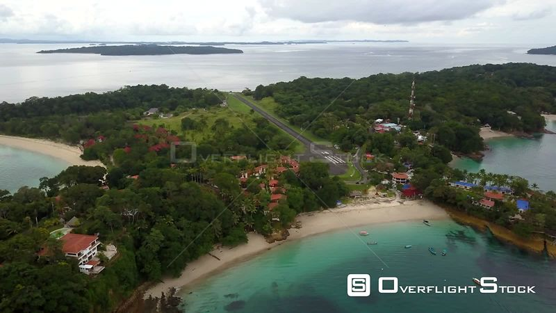 Drone Video of Plane Departing Isla Contadora Resort Island and Airport Panama