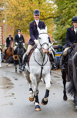 Zoe Mossman leaving the meet. The Cottesmore Hunt at Braunston