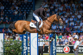 22/07/18, Aachen, Germany, Sport, Equestrian sport CHIO Aachen 2018 - Rolex Grand Prix,  Image shows Eric LAMAZE (CAN) riding...
