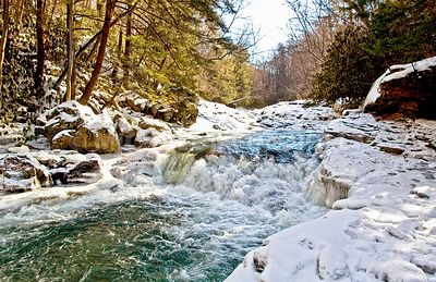 Meadow Run Falls In Winter