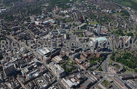 Leeds high level aerial photograph looking from Eastgate and The Headrow towards Westgate