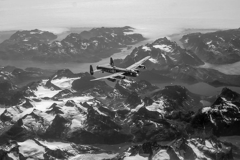 Lancaster VR-A over Greenland black and white version