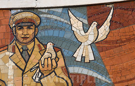 Mural above Ulan Bator Mongolia depicting the Russian Yuri Gagarin first astronaut in space and Mongolian people signifies pe...