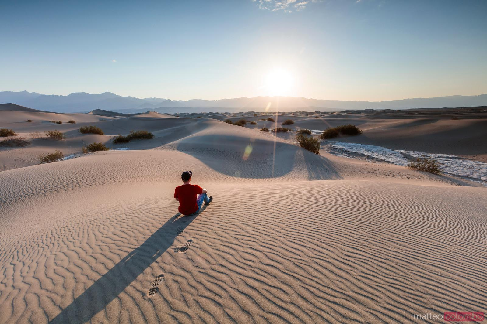Man at Mesquite Flat Sand Dunes, Death valley , USA