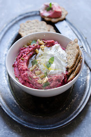 Beetroot Hummus with yoghurt, walnuts and mint