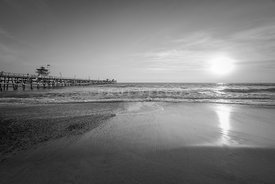 San Clemente Pier Sunset Black and White Photo