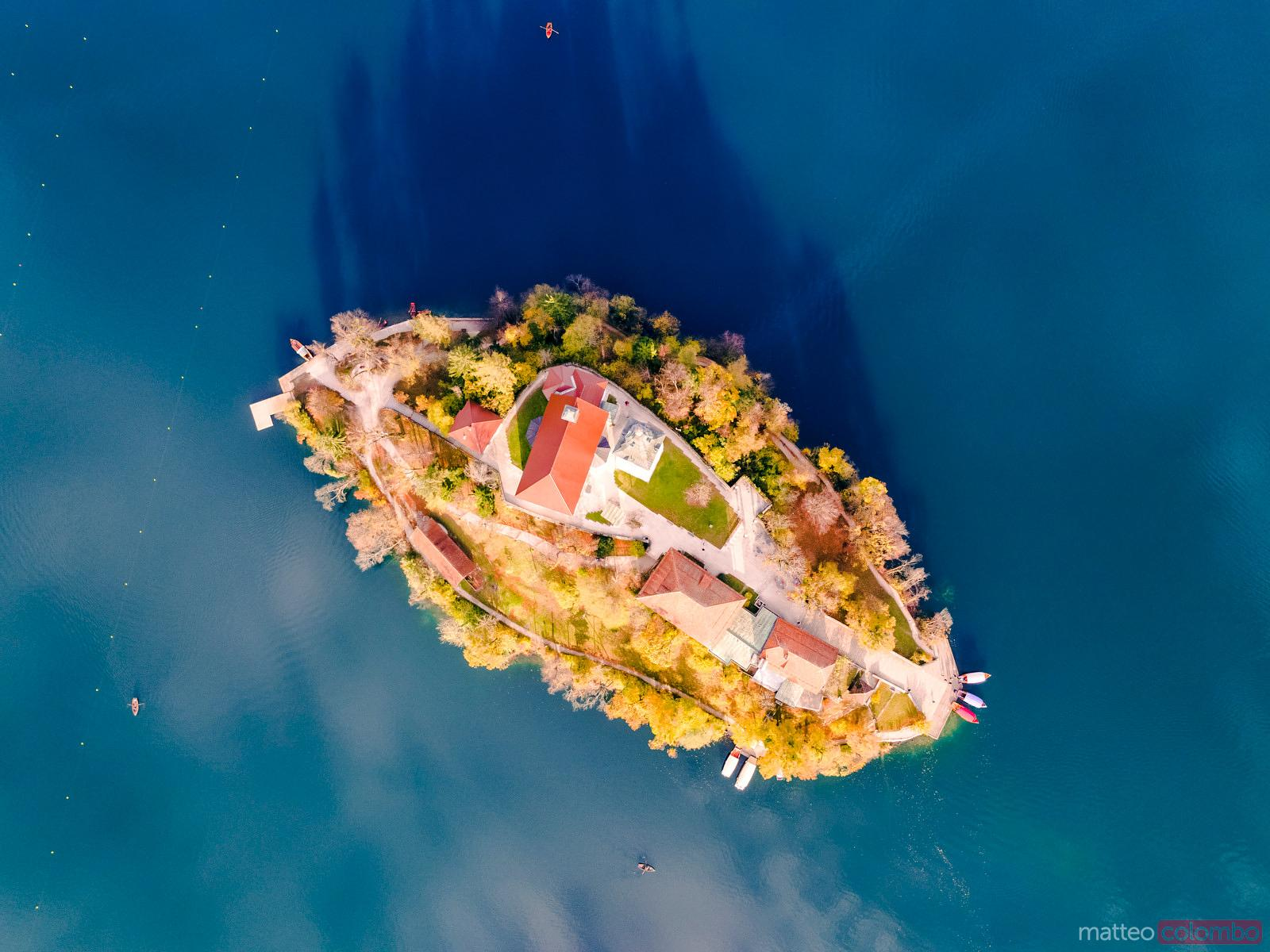 Drone overhead view of Bled island, Slovenia