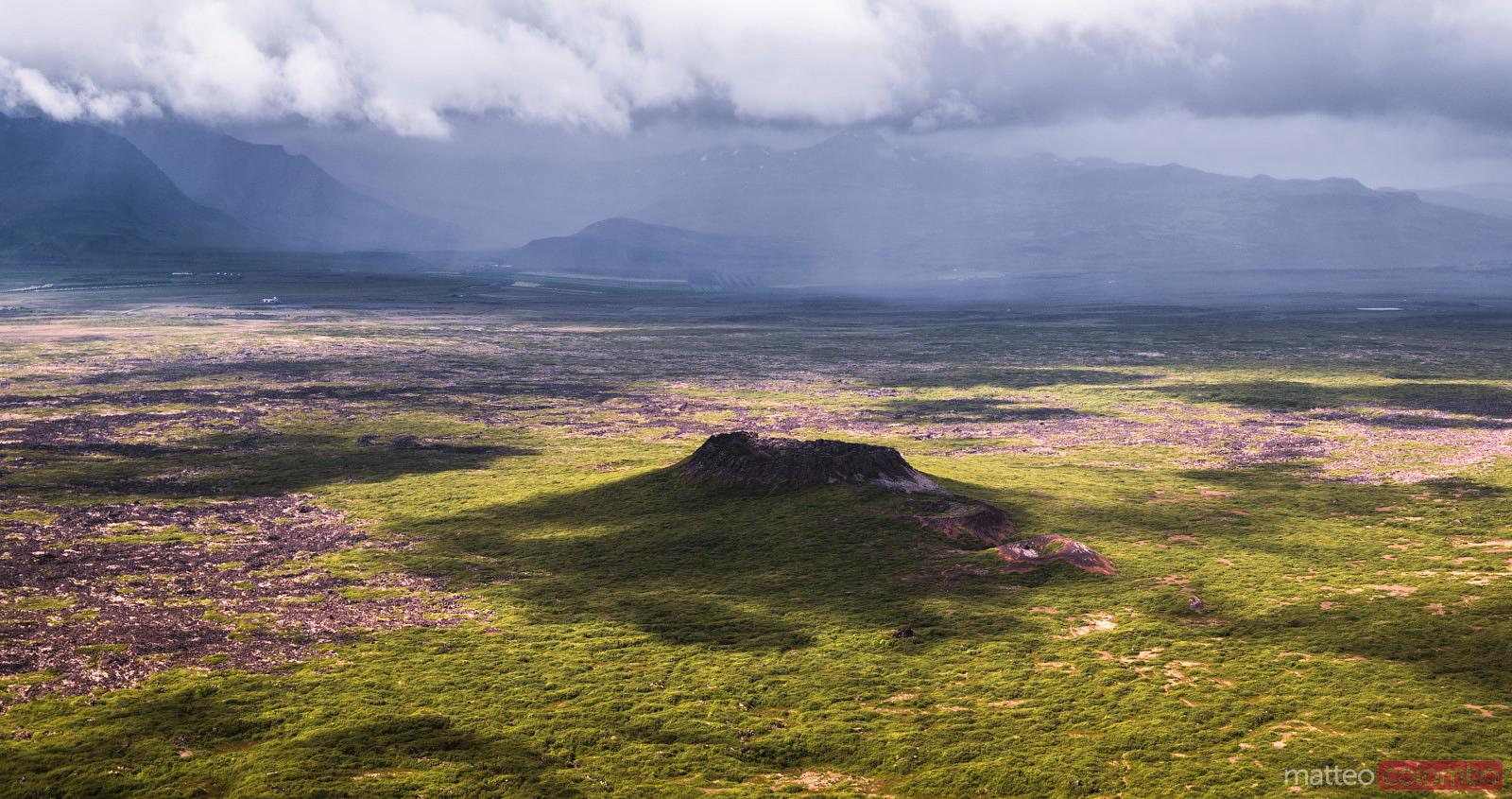 Aerial pano drone view of Elborg volcano, Iceland