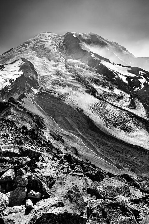 GLACIER BURROUGHS MOUNTAIN TRAIL SUNRISE AREA MOUNT RAINIER WASHINGTON BLACK AND WHITE VERTICAL