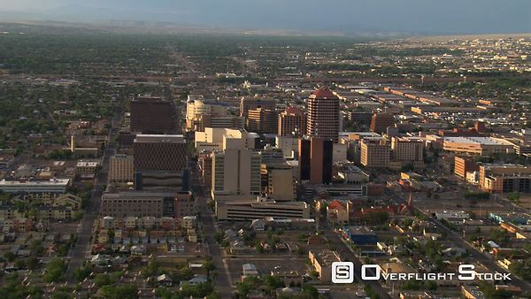 Approaching the high-rises of downtown Albuquerque.
