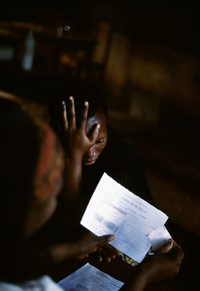 Rwanda - Kibileze - A woman receives her AIDS test result with shock at Kibayi Health Centre