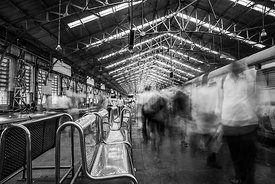 'Ghost Train 2'  Churchgate Station Mumbai:  2015 : Photographer: Neil Emmerson: £975 Including UK VAT.