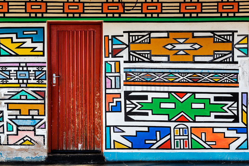 Ndebele Artwork on Wall of a House
