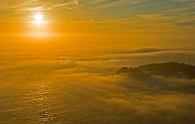 Thick fog shrouding a wooded coastline seen from the air. Barkley Sound, Vancouver Island, Canada, September 2007.