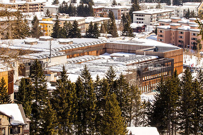 Aerial view of the Davos Congress Centre - Royalty free stock photo