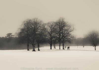Limited edition Giclée fine art print of a couple walking past some trees in the snow at Blenheim Palace, UK