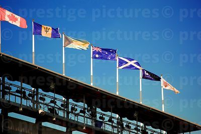 Flags Flying Against a Deep Blue Sky in Readiness for the Edinburgh Military Tattoo