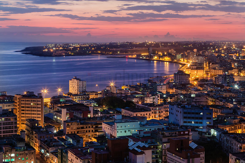 View of the Havana Skyline at Dawn Looking Down the Malecon