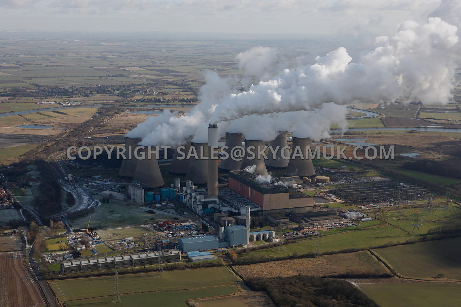Cottam Power Station aerial photograph of a winters day and steam plumes above station