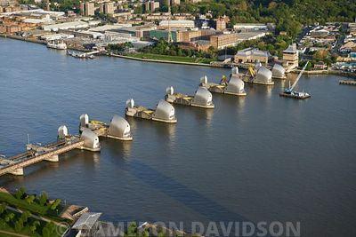 Aerial of the Thames River Barrier, England