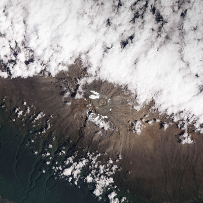 EARTH Tanzania -- 05 Nov 2012 -- Declining ice on the top of Mount Kilimanjaro - a 5,895-meter (19,341-foot) dormant stratovo...
