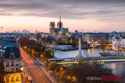 Sunset over Paris and Notre Dame, France