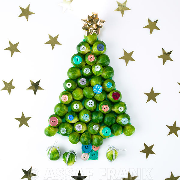 Christmas tree made of brussels sprouts