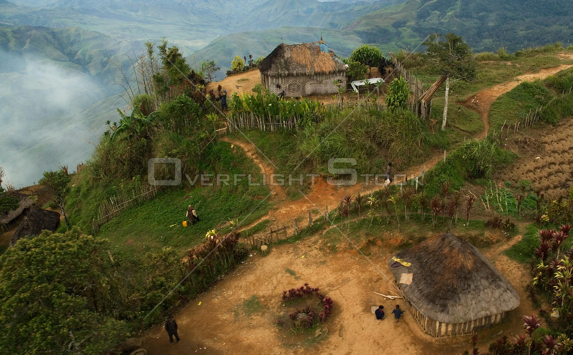 Aerial view of mountain village in Papua New Guinea, August 2007