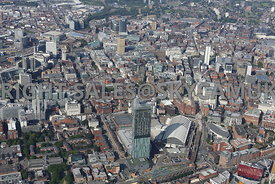 Manchester Northern Powerhouse high level view of Manchester looking from the Manchester Central Convention Complex towards t...