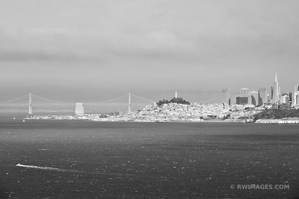 SAN FRANCISCO BAY AND CITY SKYLINE BLACK AND WHITE