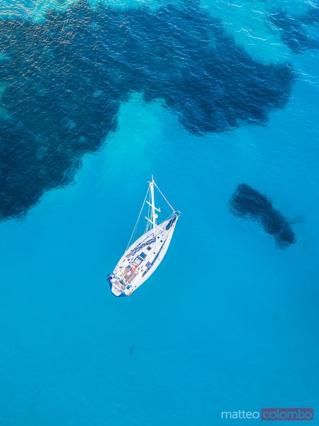 Aerial view of yacht, Menorca, Balearic Islands, Spain