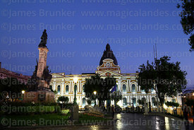 Congress building and Murillo monument after sunset, Plaza Murillo, La Paz, Bolivia