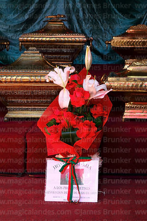 Floral tribute and casket in honour of Juan Bautista Sagarnaga (one of the members of the Junta Tuitiva) in San Francisco church during events to commemorate the uprising of July 16th 1809, La Paz, Bolivia