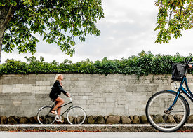 Danish woman biking in Copenhagen