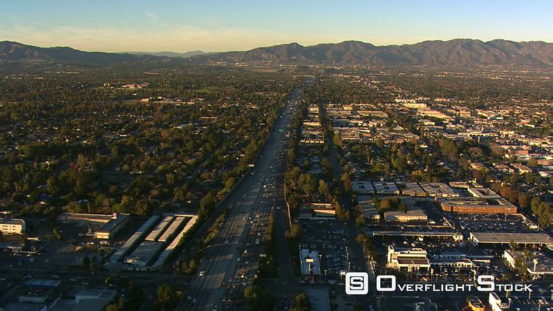 Flying above freeway in San Fernando Valley, California.
