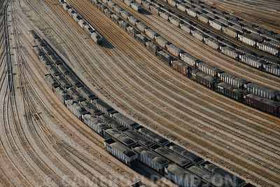 Aerial photograph of train cars full of coal at Newport News, Virginia