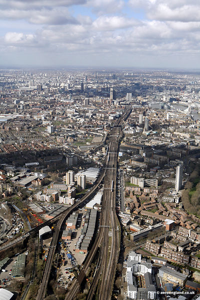 The London Bridge – Greenwich Railway Viaduct and site of the former Southwark Park railway station on the London and Greenw...