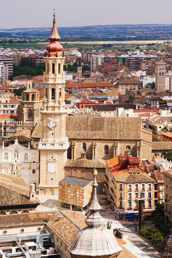 View of the Plaza del Pilar from a Tower of Nuestra Senora del Pilar Church, Zaragoza, Aragon, Spain