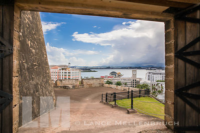 Entrance to Old San Juan with view of San Juan Bay.