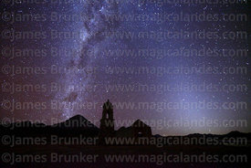 Ruined church at Huacolle, Milky Way, zodiacal light and Sajama volcano, Bolivia