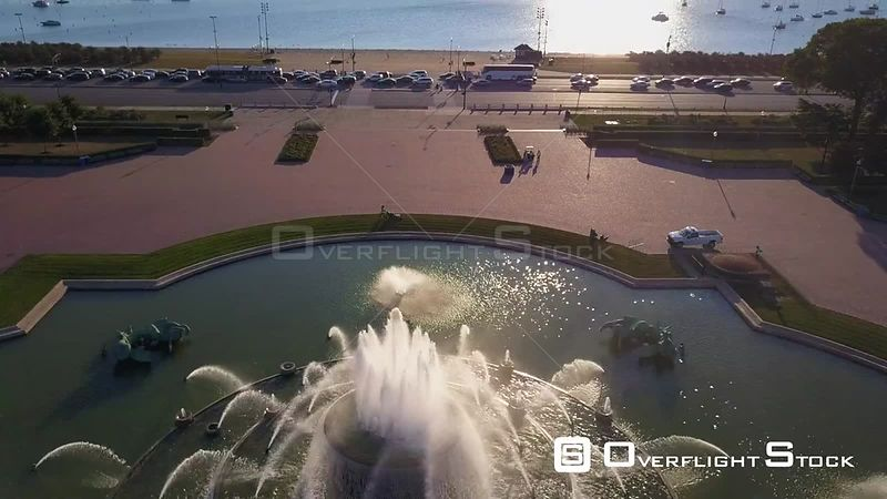 Buckingham Fountain Drone Video Downtown Chicago Illinois USA